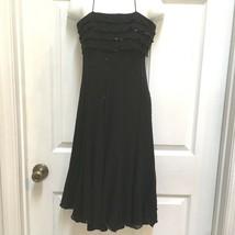 Maggy London Black Dress size 4 Silk Chiffon Beaded Flare Skirt HomeComi... - $17.81