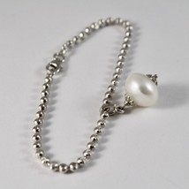 925 Silver Bracelet with Faceted Balls and Pearl White 19 cm long image 2