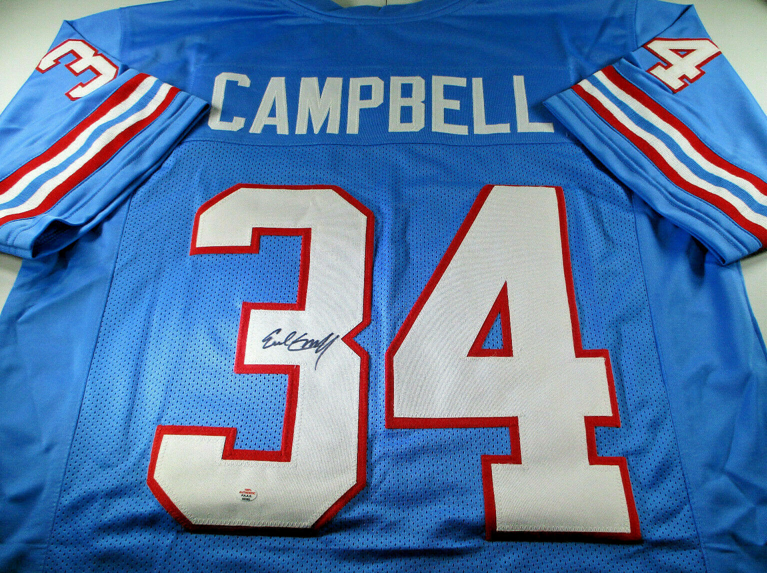 EARL CAMPBELL / NFL HALL OF FAME / AUTOGRAPHED HOUSTON OILERS CUSTOM JERSEY COA