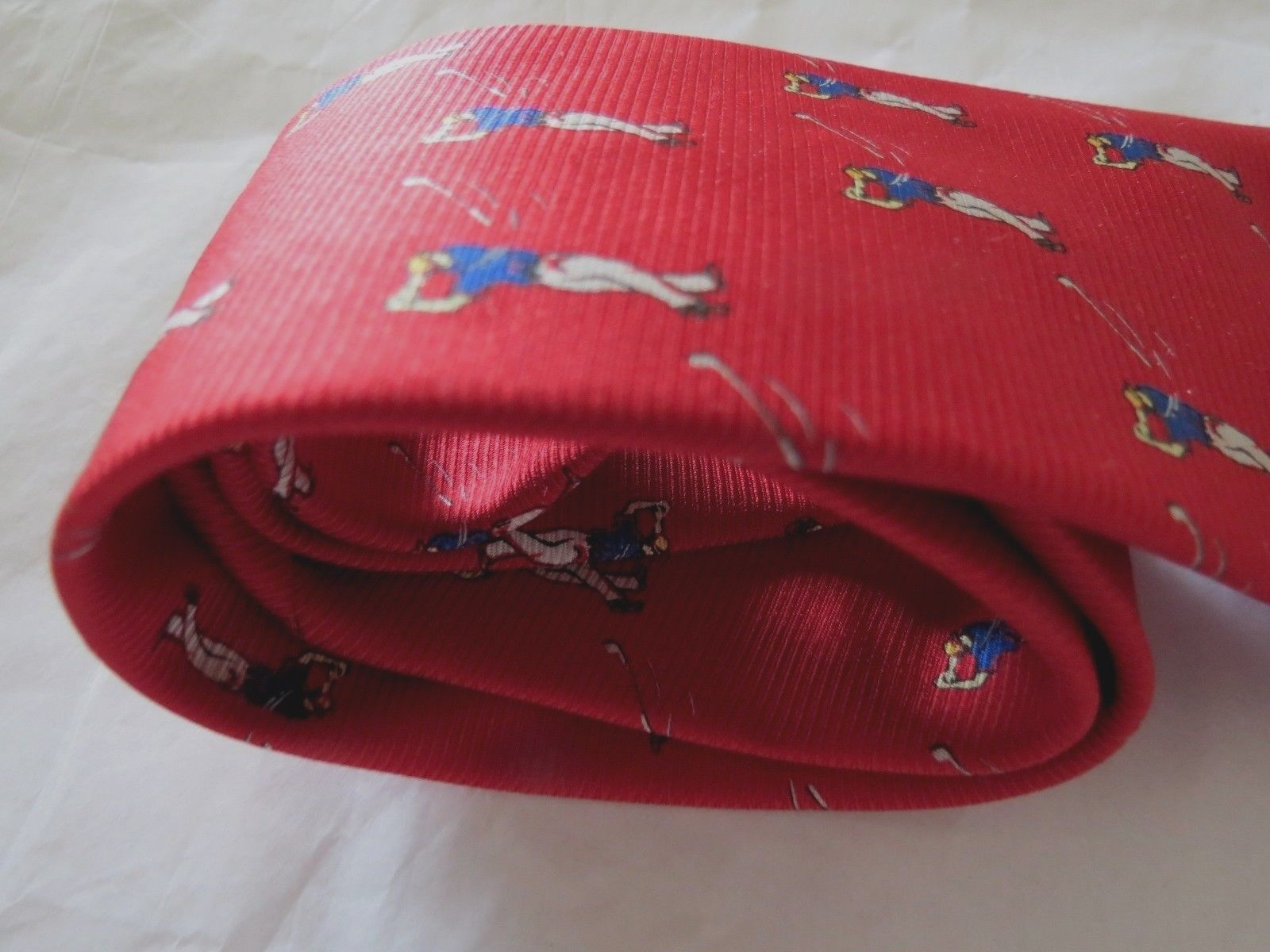 f9e5b52b4a NWT Ralph Lauren Polo Red GOLF Necktie 100% Silk Tie Made USA New LRL