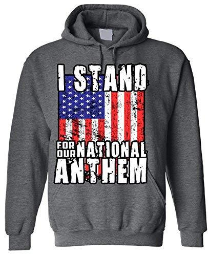 Primary image for Adult I Stand for The National Anthem Hoodie Hooded Sweater 2X-Large Charcoal
