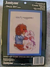 Vintage Janlynn Counted Cross Stitch Kit 100% Huggable Suzys Zoo with Fr... - $11.87