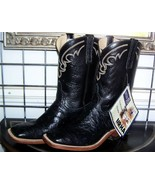 Anderson Bean Black Square Toe Full Quill Leather Ostrich Cowboy Boots 9 D - $595.00