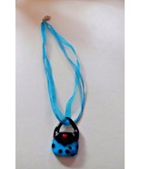 Teal and black Murano glass purse handbag pendant on a ribbon necklace - $6.95