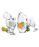 Set of 7 Libbey Carolina Clear Glass Pitcher and Glass Set New - £22.43 GBP