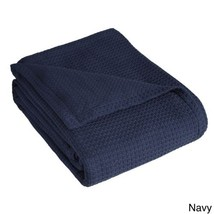 Woven Wholly Cotton Throw Blanket Bedding Luxurious Grand Hotel Twin Navy - $25.45