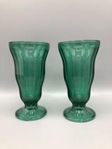 2 Vintage Anchor Hocking Parfait Ice Cream Emerald Green Glasses - $18.80