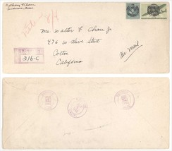 1945 Swansea MA Colton CA Registered Cover 2 GREAT Bullseye Target Cancels! - $4.99