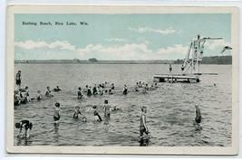 Bathing Beach Swimmers Rice Lake Wisconsin 1920s postcard - $6.39