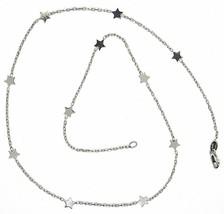 Collier or Blanc 750 18K, Chaîne Rolo Vis- , Étoiles Plates Alternate - $334.21