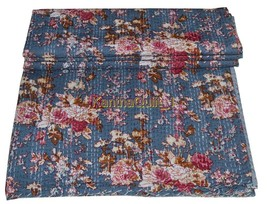 Queen Handmade Quilt Bedspread Throw Vintage Kantha Cotton Blanket Gudar... - $42.24