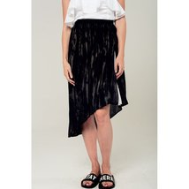 Asymmetric hem skirt in black and gray print - $41.00