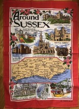 Around Sussex Tea Towel Souvenir Gift Map Eastbourne Abbey Battle Cathed... - $7.92