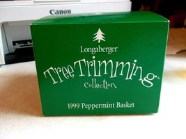 Longaberger 1999 Tree Trimming Christmas Peppermint Basket Combo NEW in BOX - $25.88