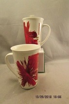 Starbucks Coffee 2014 Tall Red White Gold Starburst Floral Ceramic Mug 1... - $12.19
