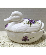 Vintage Figural Duck Trinket Box Ring Box White with Purple Violets Cott... - $10.00
