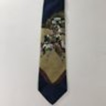 Polo Ralph Lauren Men's Tie 100% Silk Blue Large Polo Players Horses Navy  - $24.74