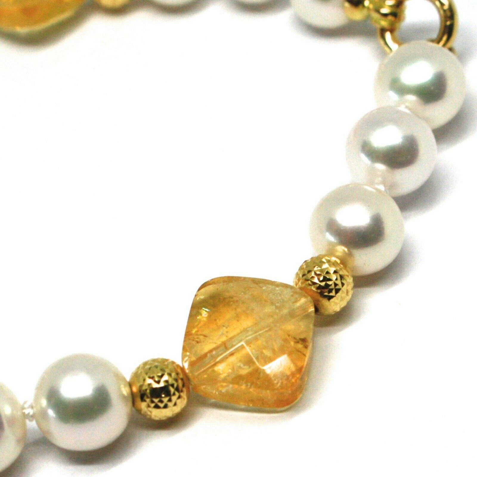Bracelet Yellow Gold 18K 750, Citrine, White Pearl Balls Pattern~