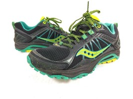 WOMENS SAUCONY EXCURSION TR9 BLACK YELLOW BLUE RUNNING SHOES SIZE 8.5 S1... - $23.75