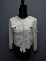 ST. JOHN SPORT White Black Polyester Blend Casual Full Zip Jacket Size P... - $79.15