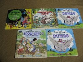 Lot of Disney See Hear Read Books w Records  Snow White Thumper Dumbo - $29.95