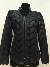 V Neck Black Soft Genuine Leather Leaf Jacket Womens All Sizes Zipper Short D7 - $115.00