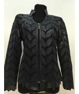 V Neck Black Soft Genuine Leather Leaf Jacket Womens All Sizes Zipper Sh... - $150.00