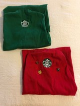 Starbucks Aprons 1 Red And 1 Green And 3 Employee Pins - $45.50