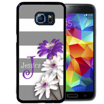 MONOGRAM CASE FOR SAMSUNG S9 S8 S7 S7 PLUS RUBBER GRAY STRIPES FLOWERS - $13.98