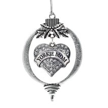 Inspired Silver Yorkie Mom Pave Heart Holiday Christmas Tree Ornament With Cryst - $14.69