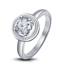 Solitaire W/ Accents Wedding Ring Round Cut Diamond White Gold Plated 92... - ₨4,944.80 INR