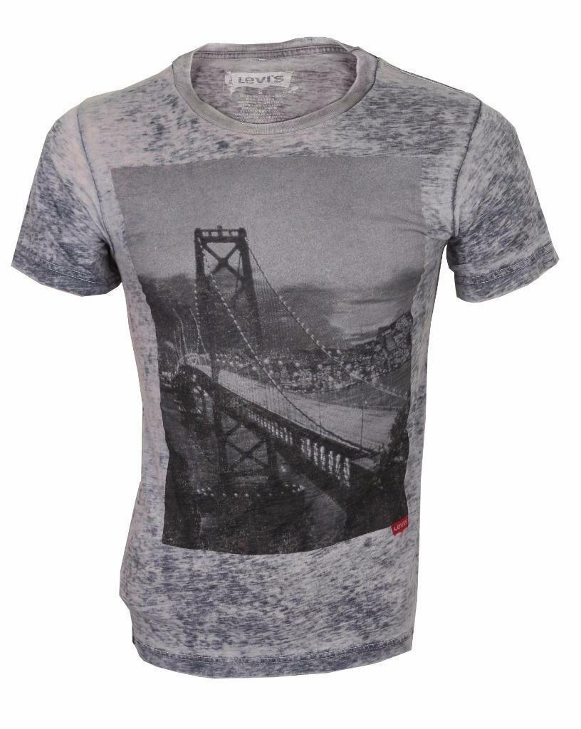 NEW LEVI'S STRAUSS MEN'S CLASSIC COTTON SAN FRANCISCO BRIDGE T-SHIRT SHIRT GRAY