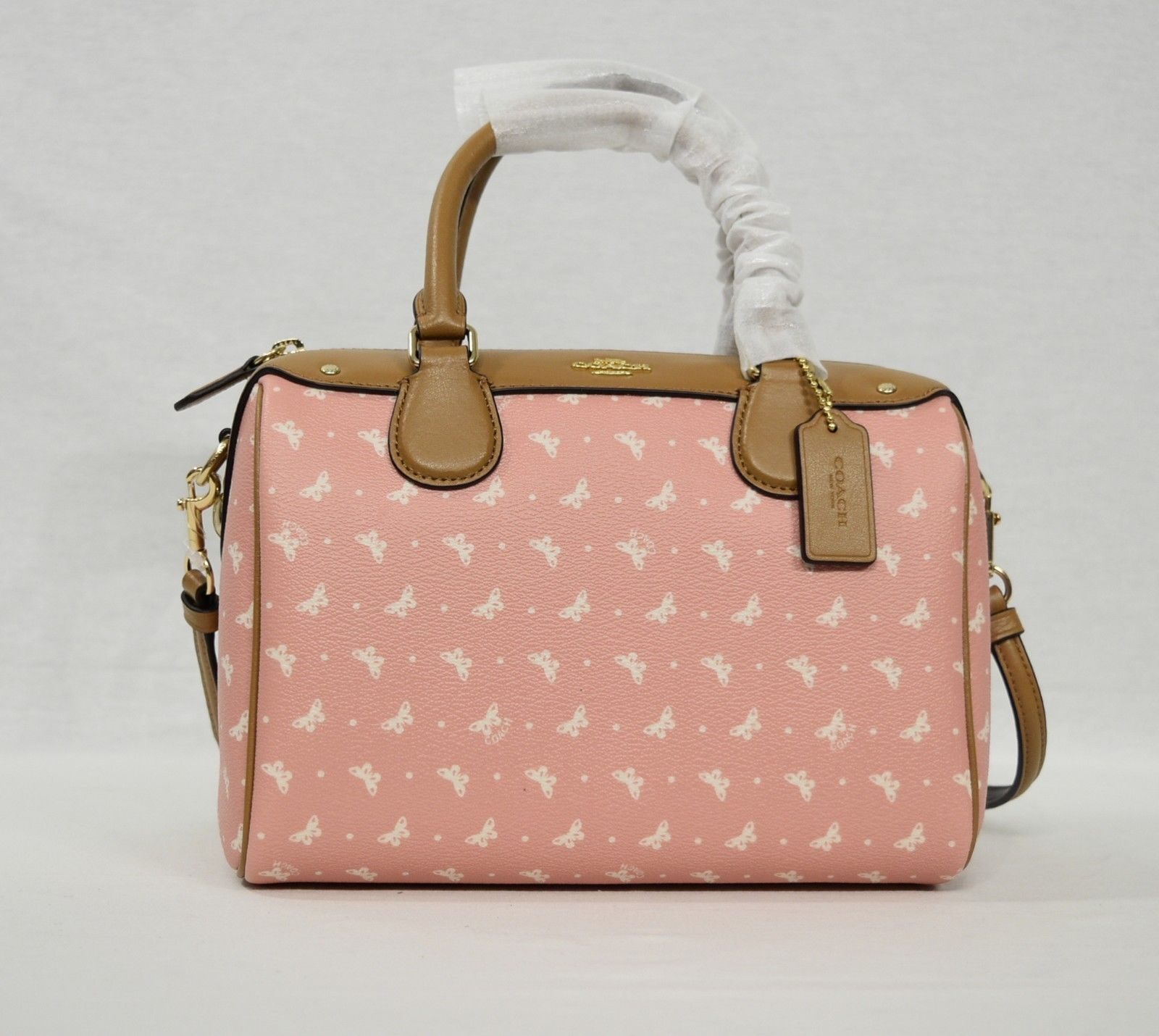 336c7301e903 NWT Coach F29806 Mini Bennett Satchel With Butterfly Dot Print in Blush  Chalk