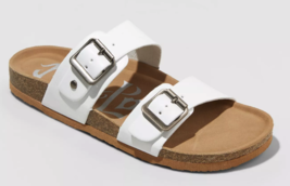 Brand New Women's White Mad Love Keava Footbed Buckle Summer Sandals