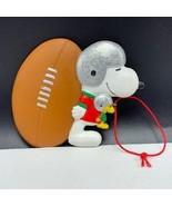 Snoopy Christmas ornament vtg silver sparkle helmet football woodstock p... - $17.82