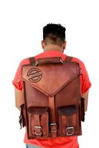 Men women's New Genuine Leather Back Pack Rucksack Travel Bag Laptop Satchel Bag - $14.68