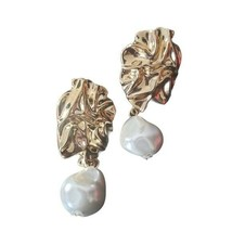 A New Day Womens Gold Nugget Faux Pearl Stone Drop Earrings Jewelry - $20.00