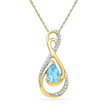 10k Yellow Gold Oval Lab-Created Blue Topaz Solitaire Diamond Teardrop P... - $213.57