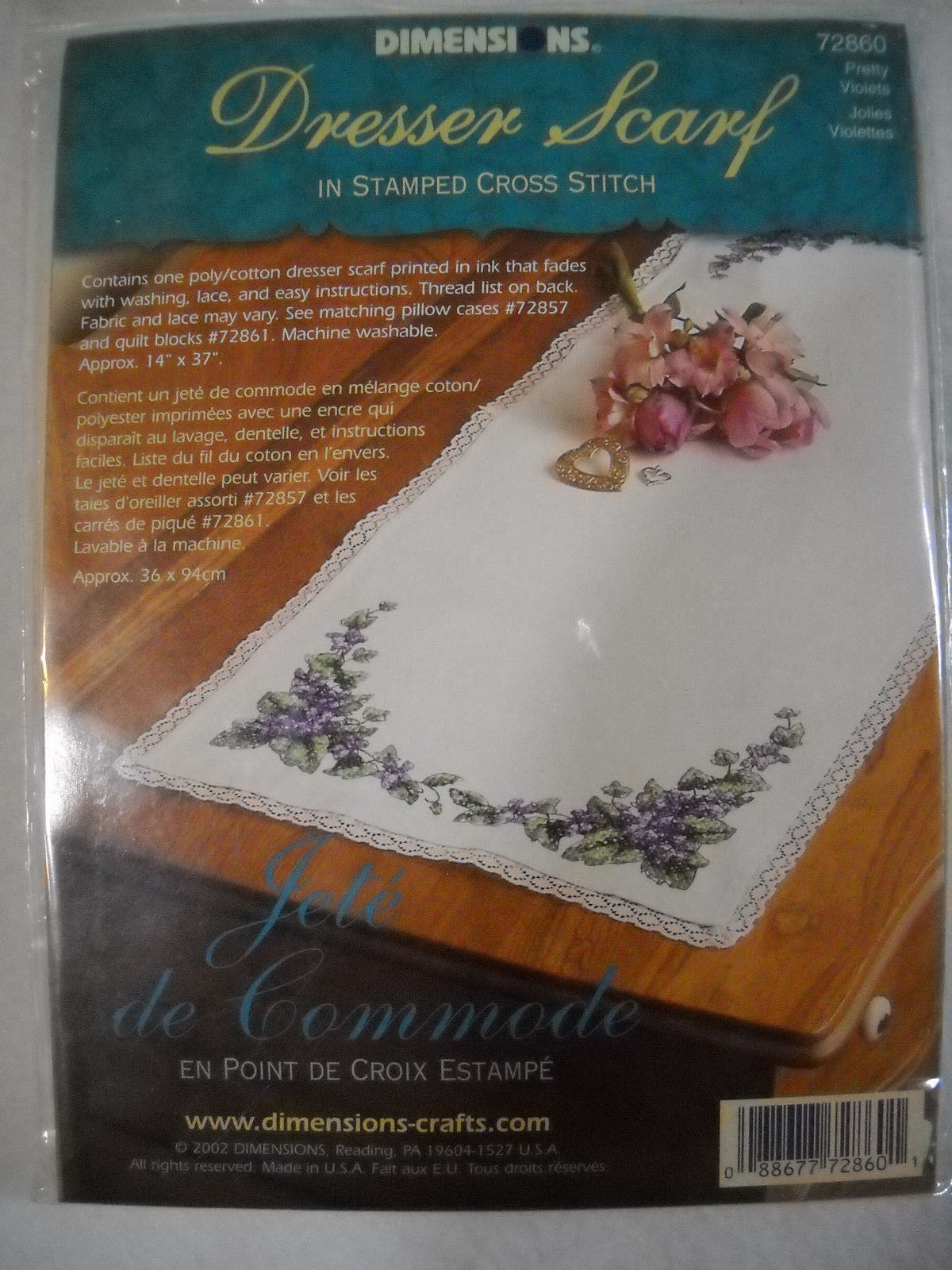 Pretty Violets Dresser Scarf Pannel Stamped for Cross Stitch Dimensions 72860