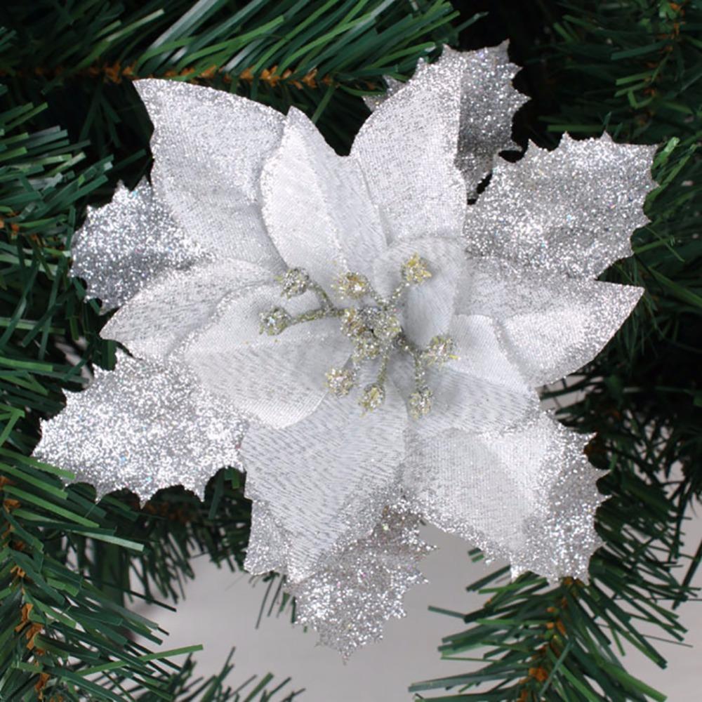 10Pcs/lot 17cm Red/Golden/Silver Flowers Wreaths Decor