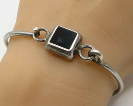 925 Sterling Silver - Vintage Inlay Black Onyx Hinged Bangle Bracelet - ... - $42.26