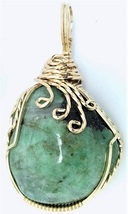 Emerald Gold Wire Wrap Pendant 31 - $44.00