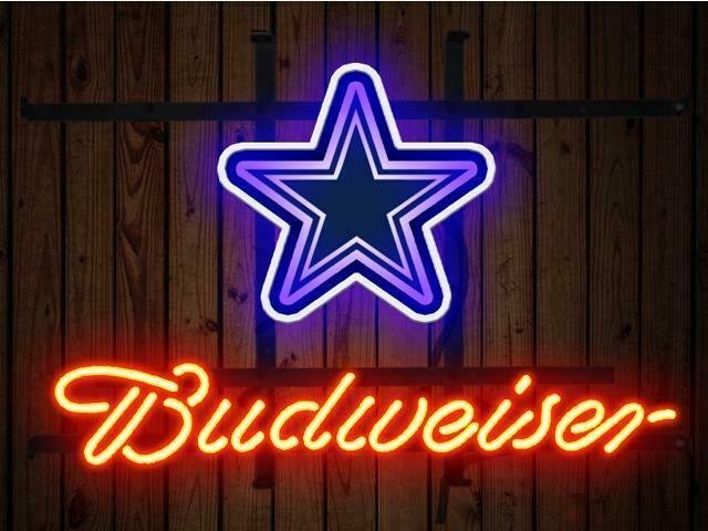"Budweiser Dallas Cowboys Neon Sign 14""x10"" Beer Bar Light Artwork Man Cave Gift"