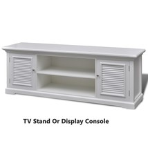 White TV Stand Console DVD Player Storage Wooden Cupboard Entertainment ... - $200.08