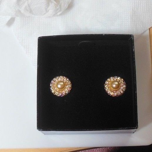 Joan Rivers Faux Pearl & Glimmering Rainbow Rhinestone Clip On Earrings