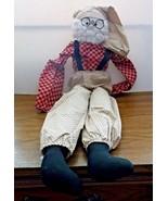 "28"" Rustic Primitive Country Calico(Hearts) Santa Claus w/Glasses Shelf ... - $17.77"