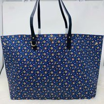 Tory Burch NWT Kerrington Square Tote Leather Blue Wild Pansy $298 Shoulder Bag image 11