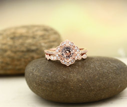 1.70 Ctw AAA Morganite Engagement Ring Set 14k Rose Gold Over .925 Silver - $112.79