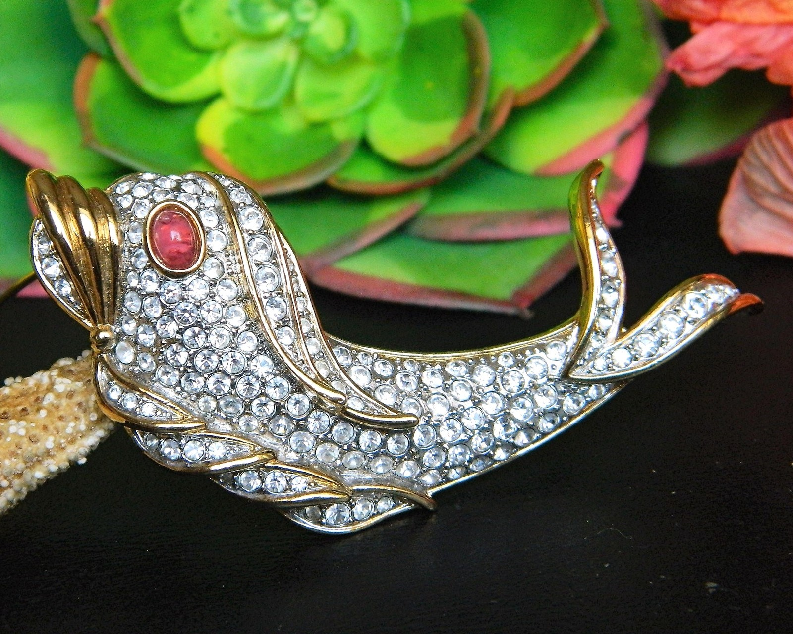 Vintage Fish Dolphin Brooch Pin Attwood Sawyer Rhinestones Signed A&S