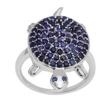Blue Saphire !! Tortoise Design 925 Sterling Silver Lucky Charm Ring Jew... - $35.39